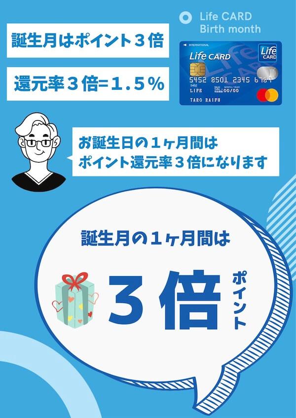 ライフカードは誕生月ポイント3倍=1.5%